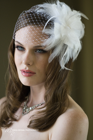 From birdcage to blushers, the veils of today are adorned with feathers,